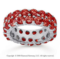 6 1/2 Carat Ruby 14k White Gold Double Row Eternity Band