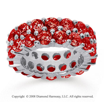8 1/2 Carat Ruby 14k White Gold Double Row Eternity Band