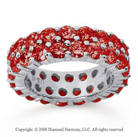 3 1/2 Carat Ruby 18k White Gold Double Row Eternity Band