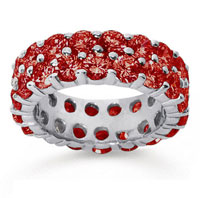 6 1/2 Carat Ruby 18k White Gold Double Row Eternity Band