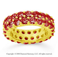 3 1/2 Carat Ruby 14k Yellow Gold Double Row Eternity Band