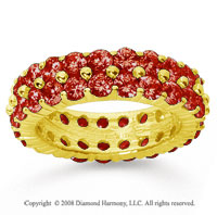 4 1/2 Carat Ruby 14k Yellow Gold Double Row Eternity Band