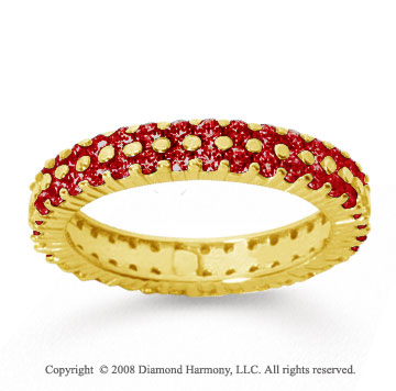 1 1/2 Carat Ruby 18k Yellow Gold Double Row Eternity Band