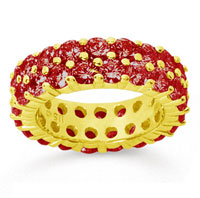 3 1/2 Carat Ruby 18k Yellow Gold Double Row Eternity Band