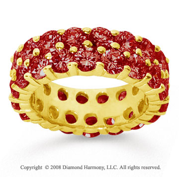 6 1/2 Carat Ruby 18k Yellow Gold Double Row Eternity Band