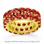 8 1/2 Carat Ruby 18k Yellow Gold Double Row Eternity Band