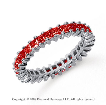 1 1/2 Carat Ruby Platinum Princess Eternity Band