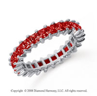 2 1/2 Carat Ruby Platinum Princess Eternity Band