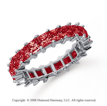 3 1/2 Carat Ruby Platinum Princess Eternity Band