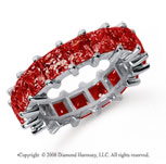 6 1/2 Carat Ruby Platinum Princess Eternity Band