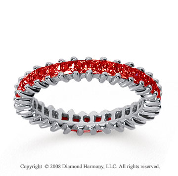 2 Carat Ruby 14k White Gold Princess Eternity Band