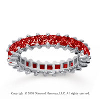 2 1/2 Carat Ruby 14k White Gold Princess Eternity Band