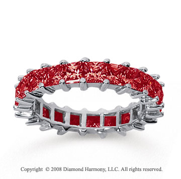 3 1/2 Carat Ruby 14k White Gold Princess Eternity Band