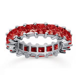4 3/4 Carat Ruby 14k White Gold Princess Eternity Band