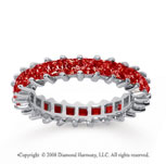 2 1/2 Carat Ruby 18k White Gold Princess Eternity Band