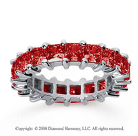 4 3/4 Carat Ruby 18k White Gold Princess Eternity Band