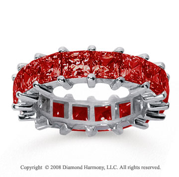6 1/2 Carat Ruby 18k White Gold Princess Eternity Band