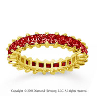 2 1/2 Carat Ruby 14k Yellow Gold Princess Eternity Band