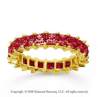 3 1/2 Carat Ruby 14k Yellow Gold Princess Eternity Band