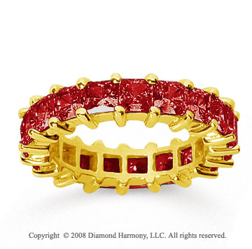 4 3/4 Carat Ruby 14k Yellow Gold Princess Eternity Band