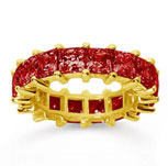 6 1/2 Carat Ruby 14k Yellow Gold Princess Eternity Band