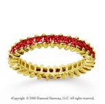 1 1/4 Carat Ruby 18k Yellow Gold Princess Eternity Band