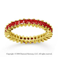 1 1/2 Carat Ruby 18k Yellow Gold Princess Eternity Band