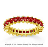 2 1/2 Carat Ruby 18k Yellow Gold Princess Eternity Band