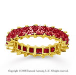 3 1/2 Carat Ruby 18k Yellow Gold Princess Eternity Band