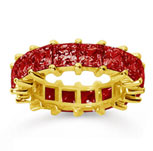 6 1/2 Carat Ruby 18k Yellow Gold Princess Eternity Band