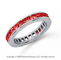 3/4 Carat Ruby Platinum Princess Channel Eternity Band