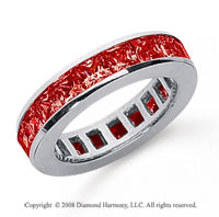 2 Carat Ruby Platinum Princess Channel Eternity Band