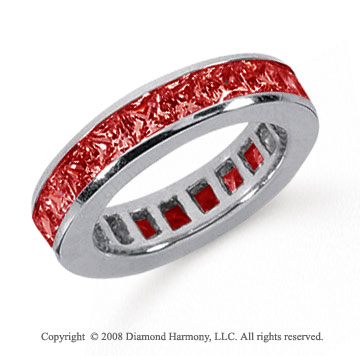 4 Carat Ruby Platinum Princess Channel Eternity Band