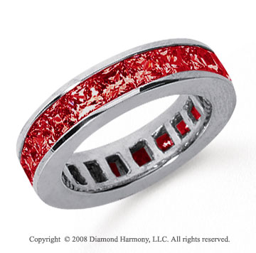 4 3/4 Carat Ruby Platinum Princess Channel Eternity Band