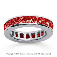2 1/2 Carat Ruby 14k White Gold Princess Channel Eternity Band