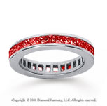 1 Carat Ruby 18k White Gold Princess Channel Eternity Band
