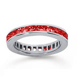 1 1/2 Carat Ruby 18k White Gold Princess Channel Eternity Band