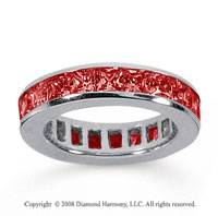 4 Carat Ruby 18k White Gold Princess Channel Eternity Band