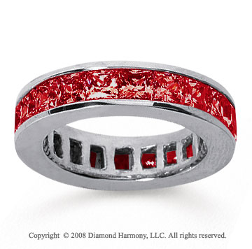 4 3/4 Carat Ruby 18k White Gold Princess Channel Eternity Band