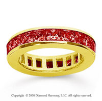 2 Carat Ruby 14k Yellow Gold Princess Channel Eternity Band