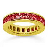 4 3/4 Carat Ruby 14k Yellow Gold Princess Channel Eternity Band