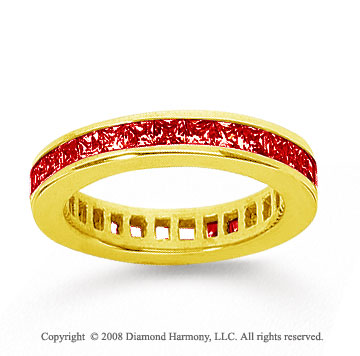 1 Carat Ruby 18k Yellow Gold Princess Channel Eternity Band