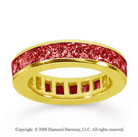 3 Carat Ruby 18k Yellow Gold Princess Channel Eternity Band