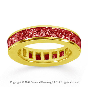 4 Carat Ruby 18k Yellow Gold Princess Channel Eternity Band