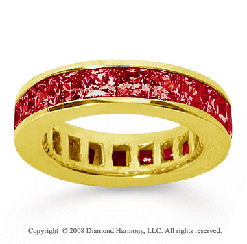 4 3/4 Carat Ruby 18k Yellow Gold Princess Channel Eternity Band