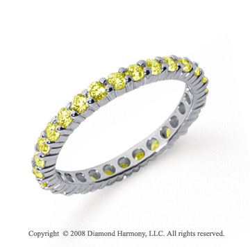 3/4 Carat Yellow Sapphire Platinum Round Eternity Band