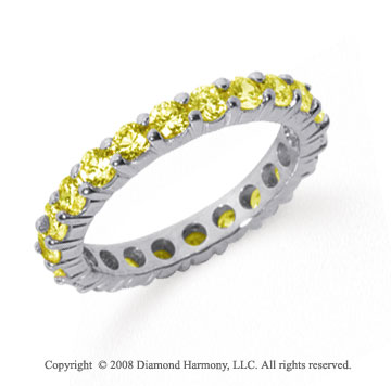 1 1/2 Carat Yellow Sapphire Platinum Round Eternity Band