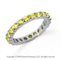 2 Carat Yellow Sapphire Platinum Round Eternity Band