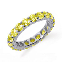 3 Carat Yellow Sapphire Platinum Round Eternity Band