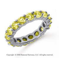 3 1/2 Carat Yellow Sapphire Platinum Round Eternity Band